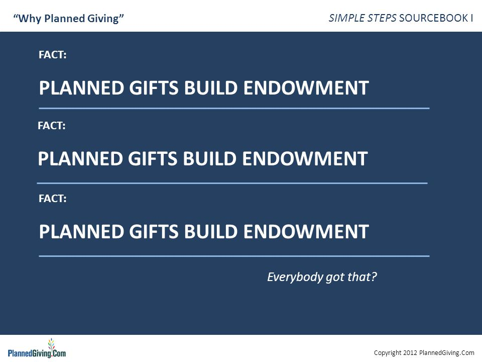 Copyright 2012 PlannedGiving.Com SIMPLE STEPS SOURCEBOOK I Why Planned Giving FACT: PLANNED GIFTS BUILD ENDOWMENT FACT: PLANNED GIFTS BUILD ENDOWMENT FACT: PLANNED GIFTS BUILD ENDOWMENT Everybody got that