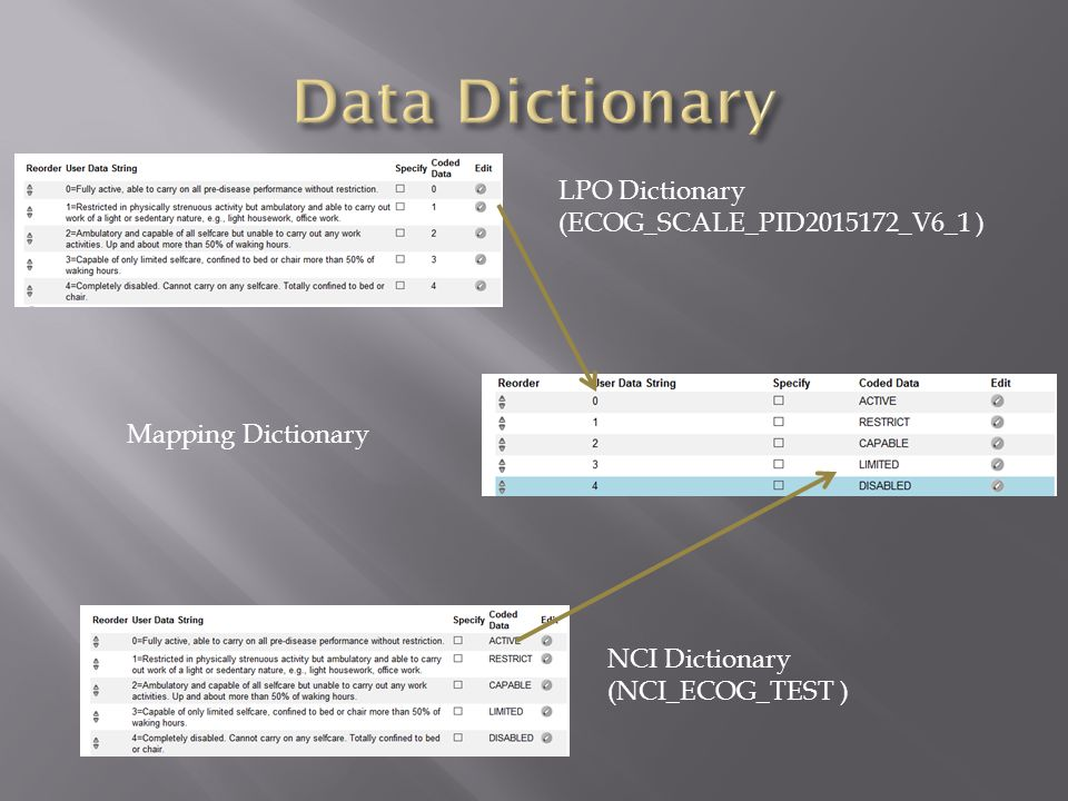 LPO Dictionary (ECOG_SCALE_PID2015172_V6_1 ) NCI Dictionary (NCI_ECOG_TEST ) Mapping Dictionary