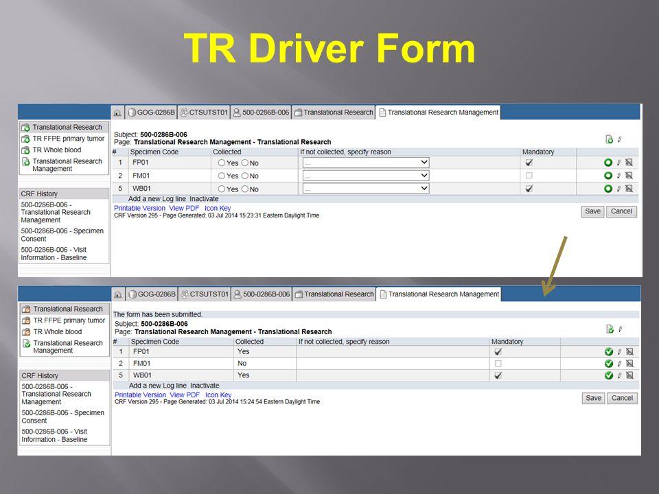TR Driver Form