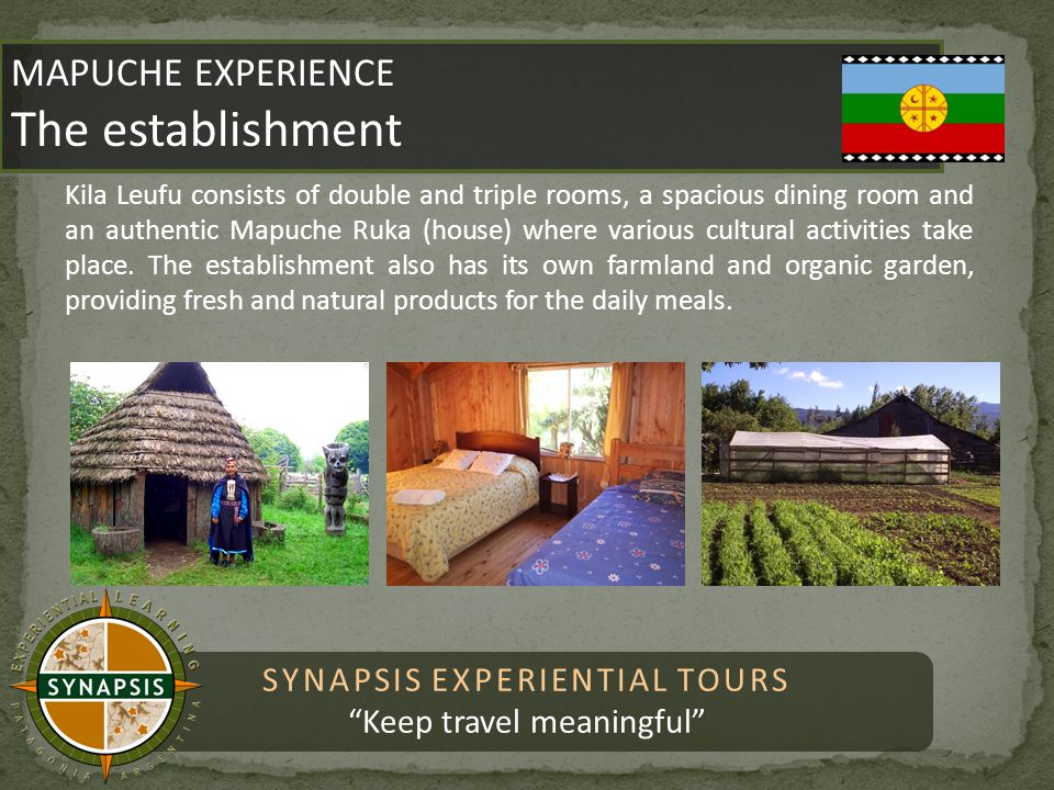 SYNAPSIS EXPERIENTIAL TOURS Keep travel meaningful MAPUCHE EXPERIENCE The establishment MAPUCHE EXPERIENCE The establishment Kila Leufu consists of double and triple rooms, a spacious dining room and an authentic Mapuche Ruka (house) where various cultural activities take place.