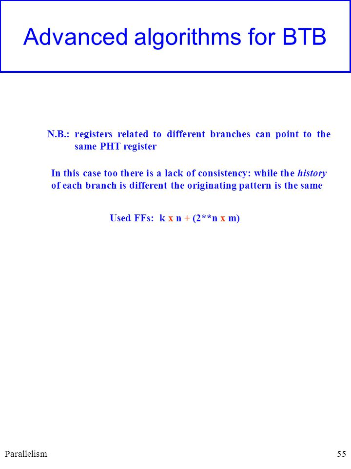 55 Advanced algorithms for BTB N.B.: registers related to different branches can point to the same PHT register In this case too there is a lack of consistency: while the history of each branch is different the originating pattern is the same Used FFs: k x n + (2**n x m) Parallelism