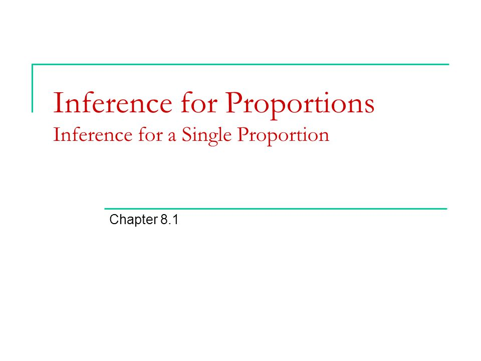 Inference for Proportions Inference for a Single Proportion Chapter 8.1