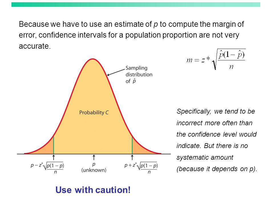 Plus four confidence interval for p A simple adjustment produces more accurate confidence intervals.