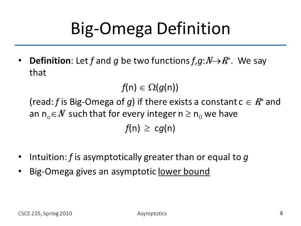 AsymptoticsCSCE 235, Spring 2010 9 Big-Theta Definition Definition: Let f and g be two functions f,g: N  R +.