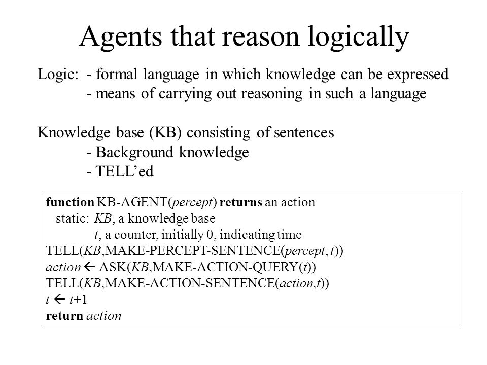 Agents that reason logically Logic: - formal language in which knowledge can be expressed - means of carrying out reasoning in such a language Knowledge base (KB) consisting of sentences - Background knowledge - TELL'ed function KB-AGENT(percept) returns an action static: KB, a knowledge base t, a counter, initially 0, indicating time TELL(KB,MAKE-PERCEPT-SENTENCE(percept, t)) action  ASK(KB,MAKE-ACTION-QUERY(t)) TELL(KB,MAKE-ACTION-SENTENCE(action,t)) t  t+1 return action