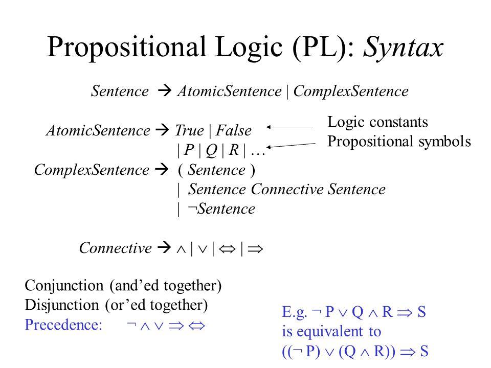 Propositional Logic: Semantics Truth table defines the semantics