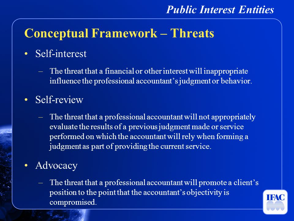 Public Interest Entities The purchase of goods and services from an audit client by the firm, or a member of the audit team or an immediate family member, does not generally create threats to independence if the transaction is in the normal course of business and at arm's length.