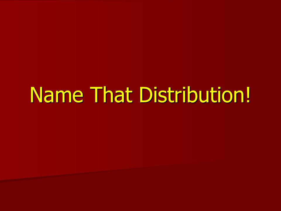 Name That Distribution!