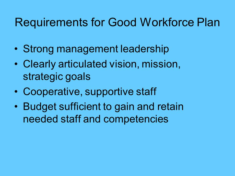 Requirements for Good Workforce Plan Strong management leadership Clearly articulated vision, mission, strategic goals Cooperative, supportive staff Budget sufficient to gain and retain needed staff and competencies
