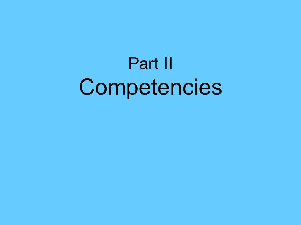 Part II Competencies