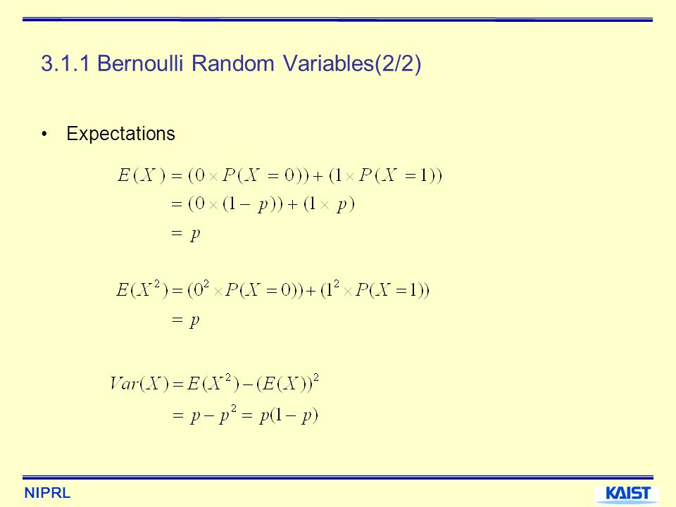 NIPRL 3.3.1 Definition of the Hypergeometric Distribution(3/3) The expectations It represents the distribution of the number of items of a certain kind in a random sample of size n drawn without replacement from a population of size N that contains r items of this kind.