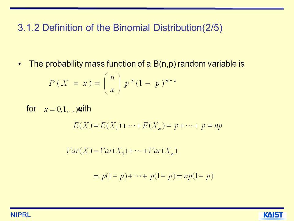 NIPRL 3.1.2 Definition of the Binomial Distribution(3/5) Ex) X~B(8,0.5)