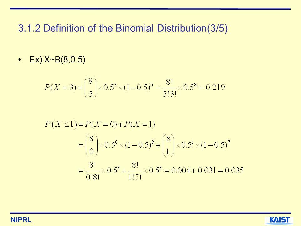 NIPRL 3.1.2 Definition of the Binomial Distribution(4/5) 0.004 0.273 0.219 0.109 0.031 0.004 0.219 0.109 0.031 432015678x Probability 432015678 0.0040.6360.8550.9650.9960.10000.3630.1440.035 Ex) X~B(8,0.5)