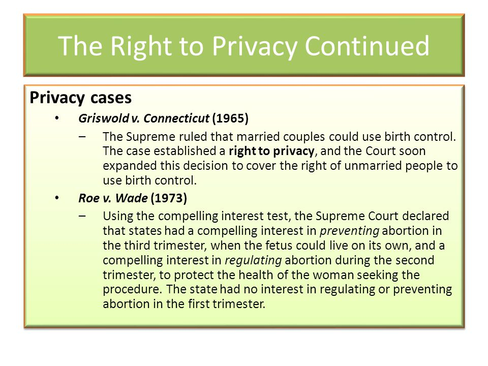 The Right to Privacy Continued Privacy cases Griswold v. Connecticut (1965) –The Supreme ruled that married couples could use birth control. The case