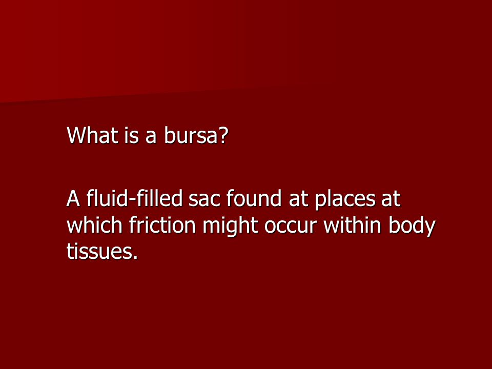 What is a bursa? A fluid-filled sac found at places at which friction might occur within body tissues.