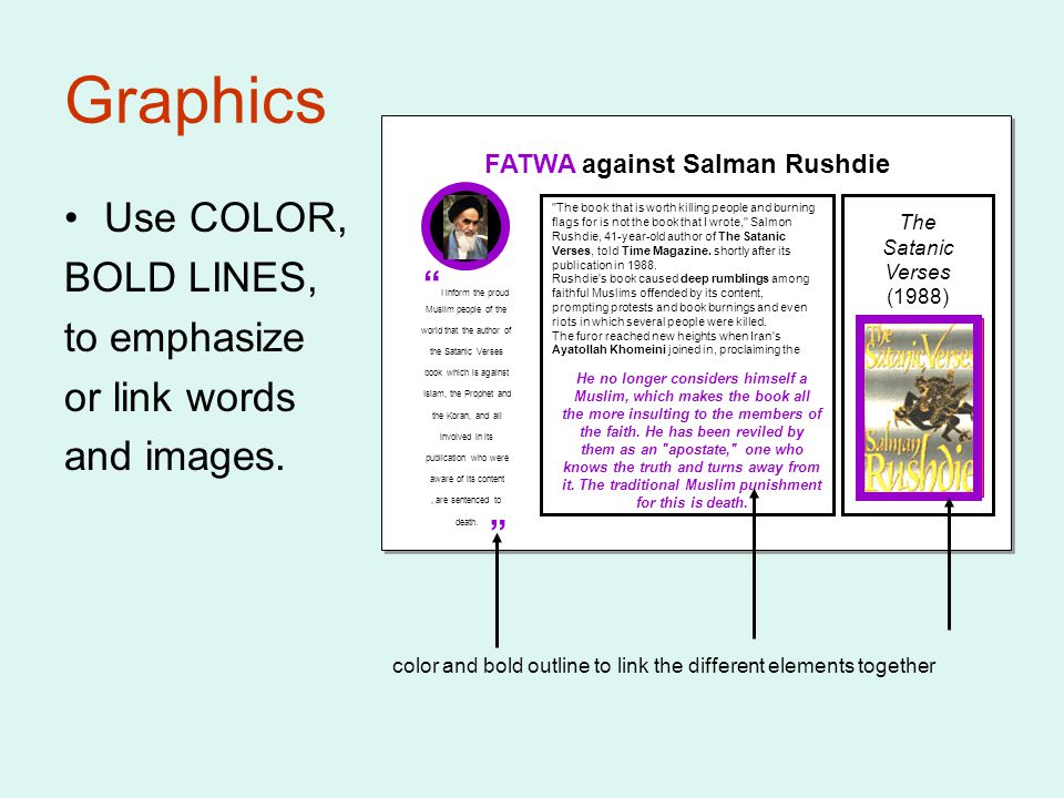 Graphics Use COLOR, BOLD LINES, to emphasize or link words and images.