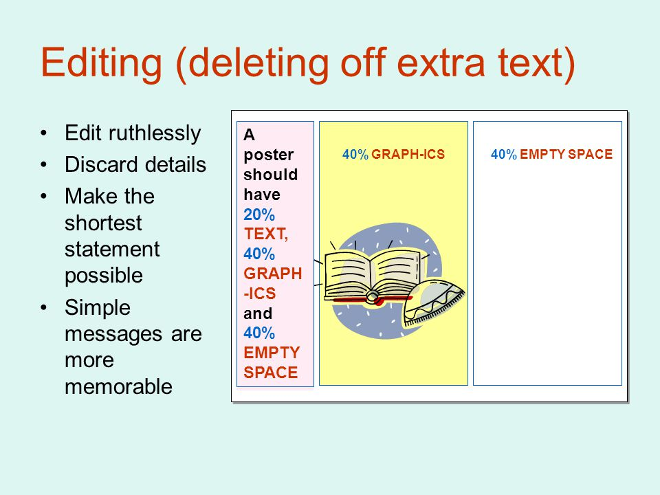 Editing (deleting off extra text) Edit ruthlessly Discard details Make the shortest statement possible Simple messages are more memorable A poster should have 20% TEXT, 40% GRAPH -ICS and 40% EMPTY SPACE 40% GRAPH-ICS40% EMPTY SPACE