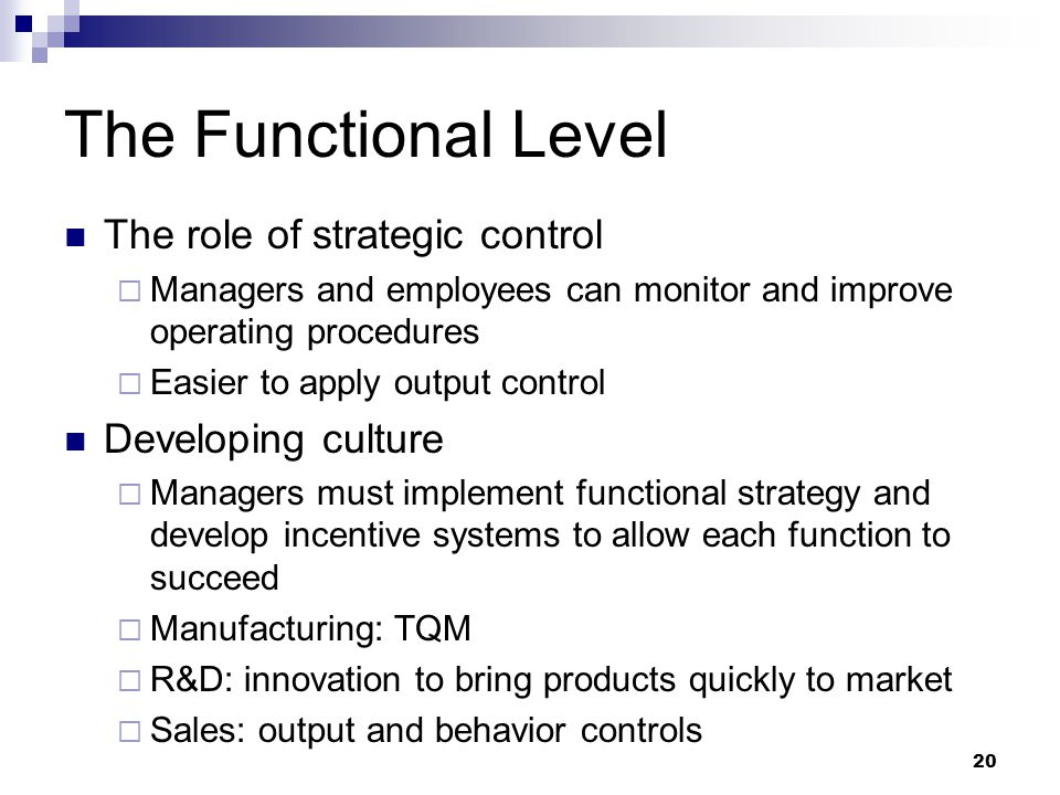 20 The Functional Level The role of strategic control  Managers and employees can monitor and improve operating procedures  Easier to apply output c