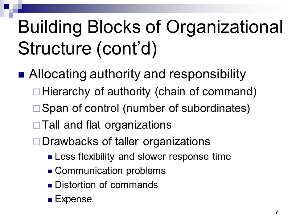 7 Building Blocks of Organizational Structure (cont'd) Allocating authority and responsibility  Hierarchy of authority (chain of command)  Span of c