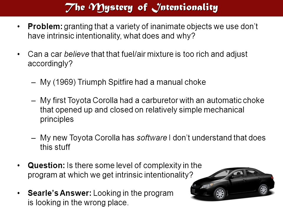 The Mystery of Intentionality Problem: granting that a variety of inanimate objects we use don't have intrinsic intentionality, what does and why? Can