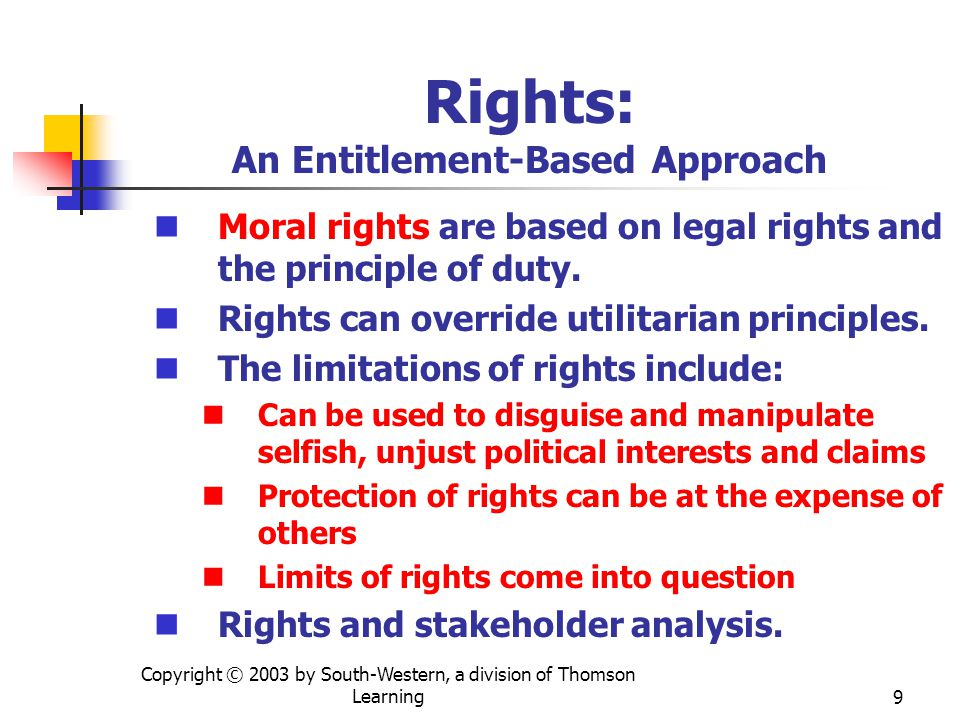 Copyright © 2003 by South-Western, a division of Thomson Learning9 Rights: An Entitlement-Based Approach Moral rights are based on legal rights and the principle of duty.
