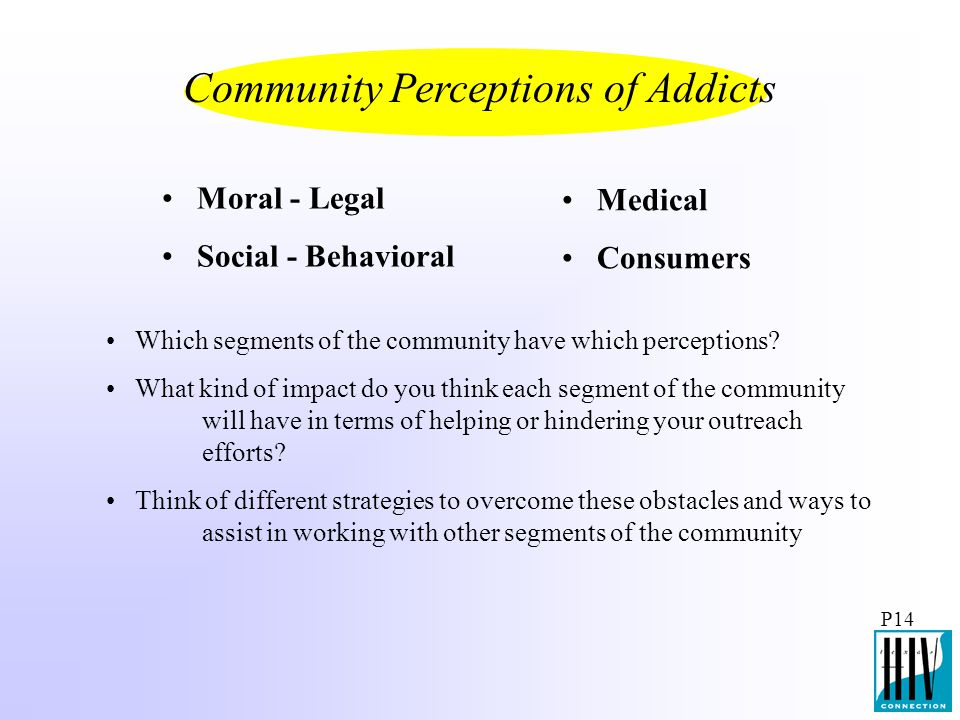 P14 Moral - Legal Social - Behavioral Medical Consumers Which segments of the community have which perceptions? What kind of impact do you think each