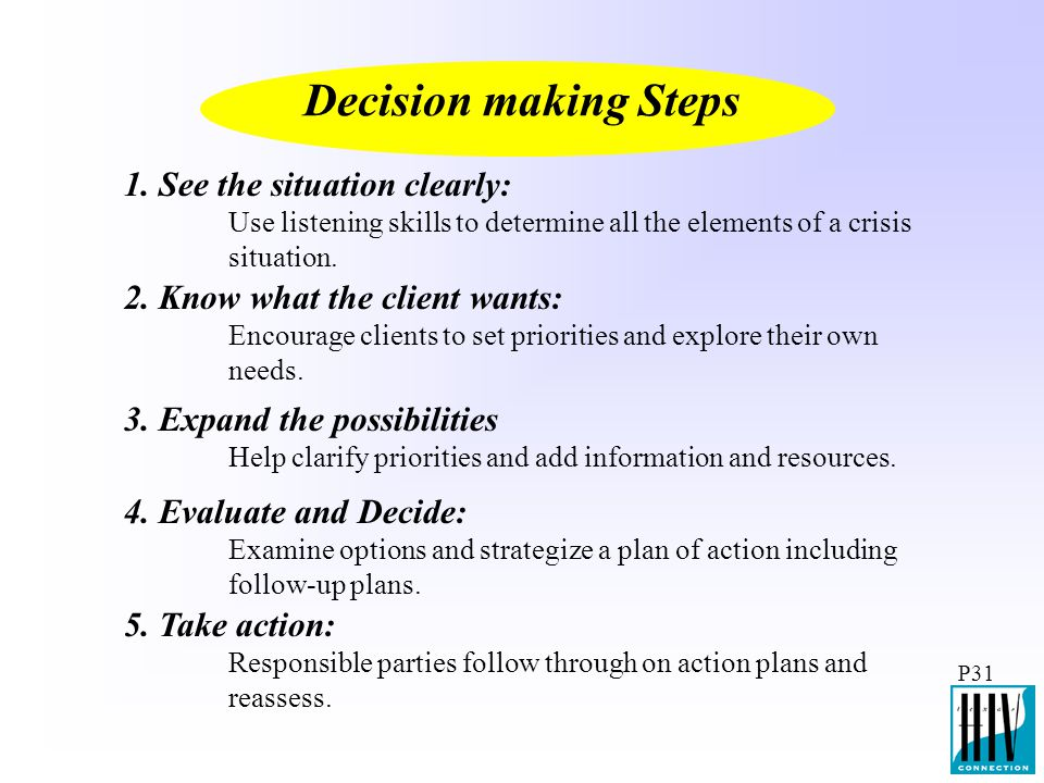 P31 Decision making Steps 1. See the situation clearly: Use listening skills to determine all the elements of a crisis situation. 2. Know what the cli