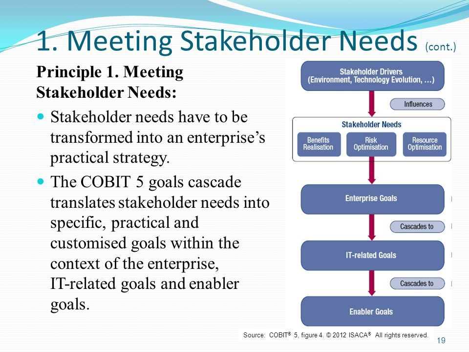 1. Meeting Stakeholder Needs (cont.) Principle 1. Meeting Stakeholder Needs: Stakeholder needs have to be transformed into an enterprise's practical s