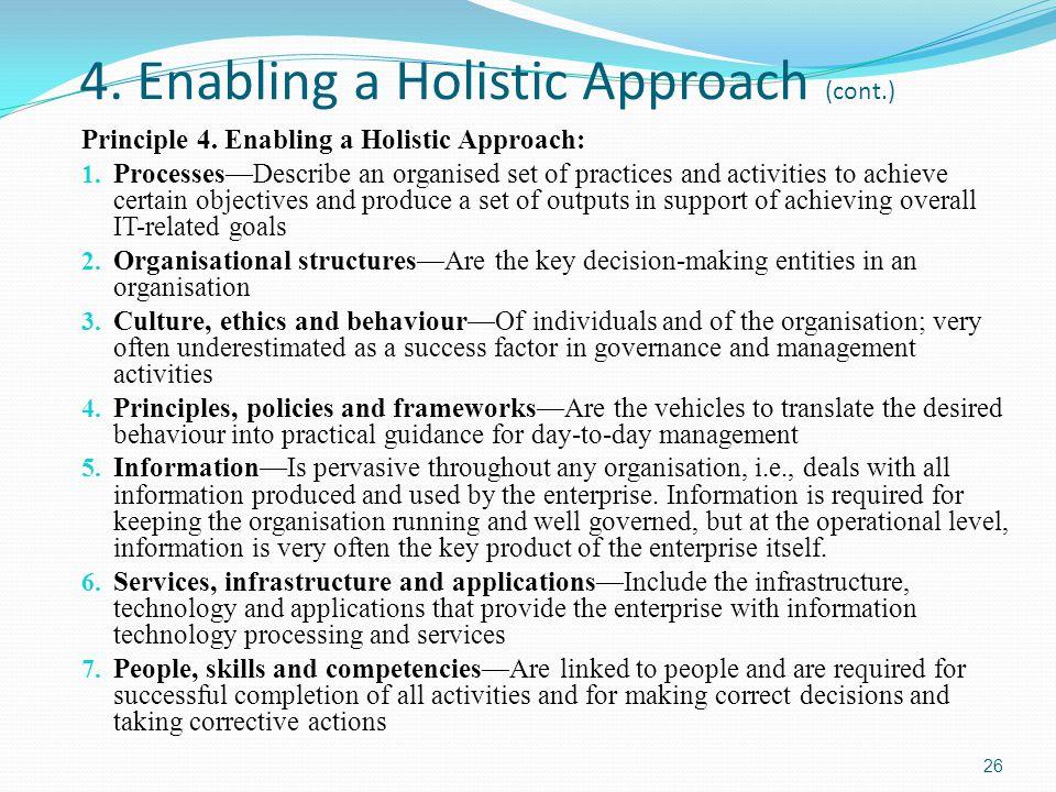 4.Enabling a Holistic Approach (cont.) Principle 4.