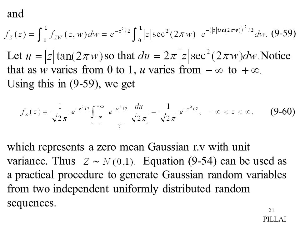 21 and Let so that Notice that as w varies from 0 to 1, u varies from to Using this in (9-59), we get which represents a zero mean Gaussian r.v with u