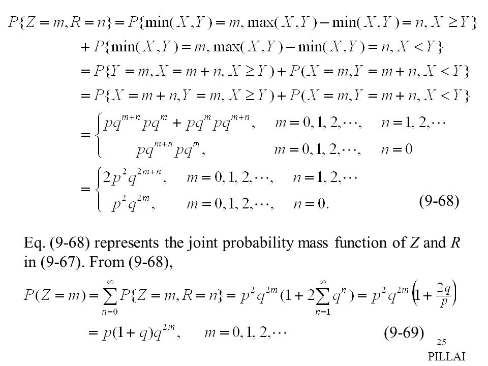 25 (9-68) Eq. (9-68) represents the joint probability mass function of Z and R in (9-67). From (9-68), (9-69) PILLAI