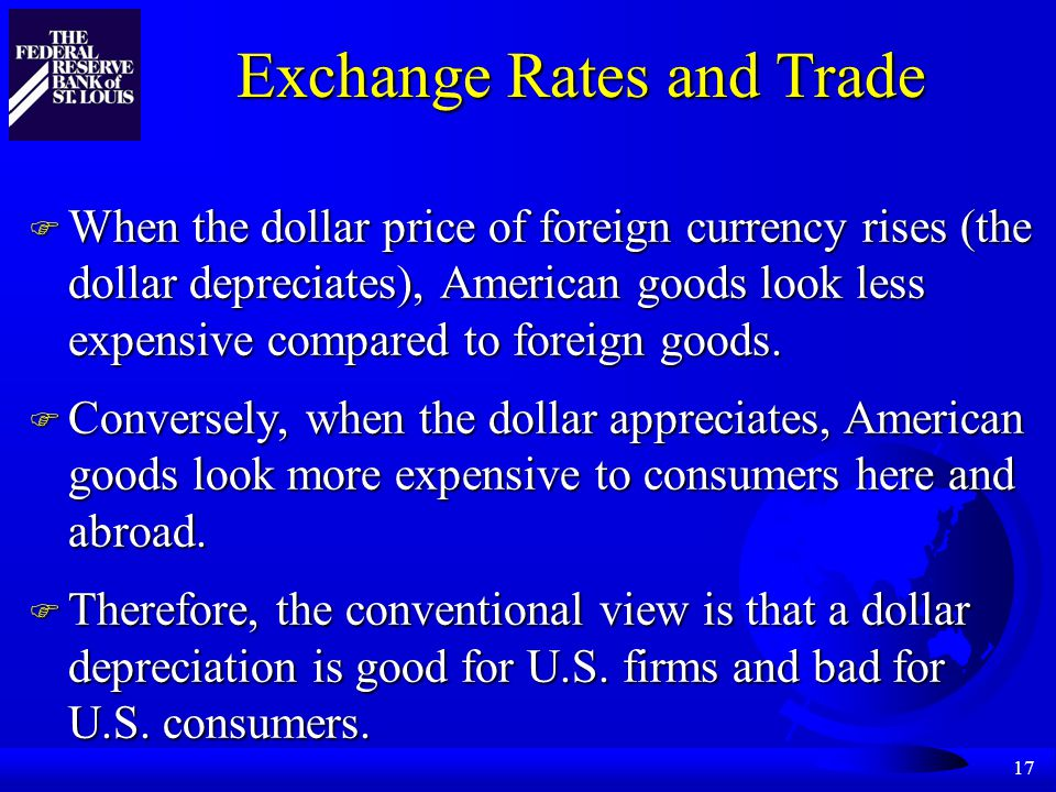 17 Exchange Rates and Trade F When the dollar price of foreign currency rises (the dollar depreciates), American goods look less expensive compared to foreign goods.