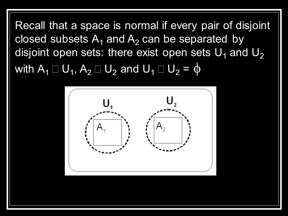 Recall that a space is normal if every pair of disjoint closed subsets A 1 and A 2 can be separated by disjoint open sets: there exist open sets U 1 and U 2 with A 1  U 1, A 2  U 2 and U 1  U 2 = 