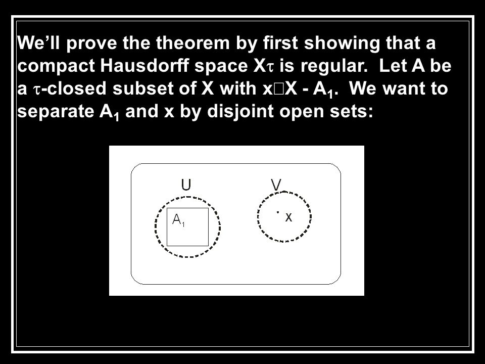 We'll prove the theorem by first showing that a compact Hausdorff space X  is regular.