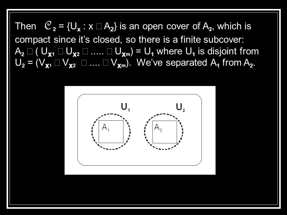 Then C 2 = {U x : x  A 2 } is an open cover of A 2, which is compact since it's closed, so there is a finite subcover: A 2  ( U x 1  U x 2 .....
