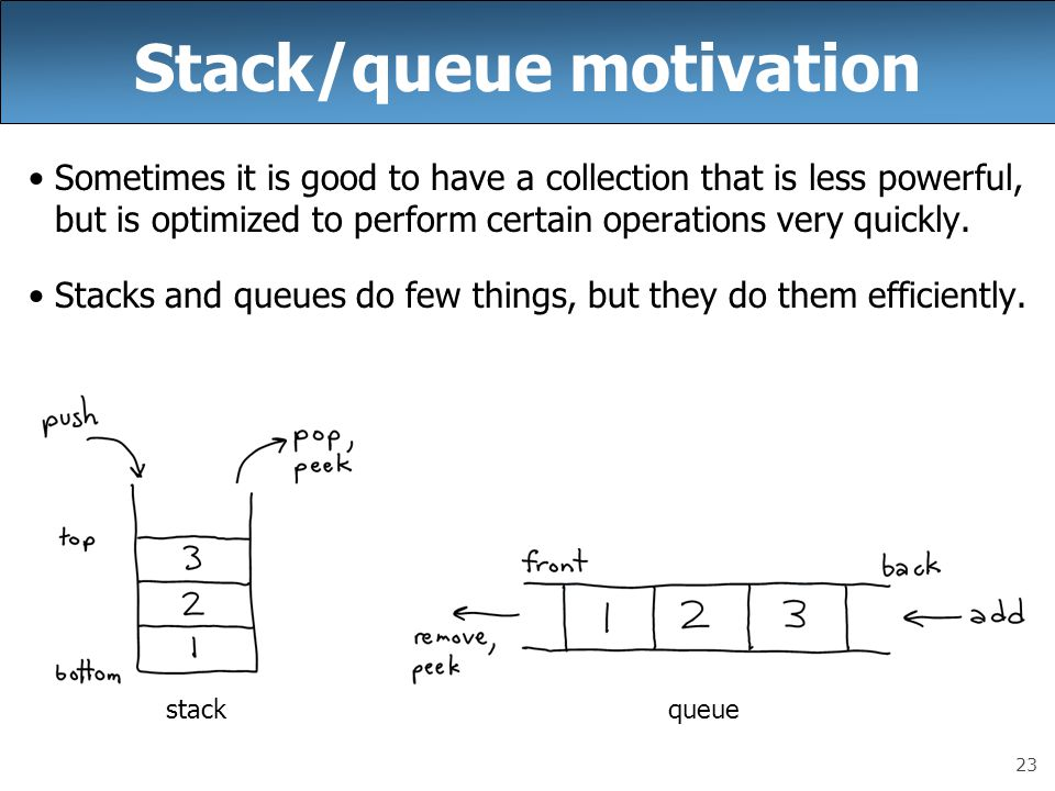 23 Stack/queue motivation Sometimes it is good to have a collection that is less powerful, but is optimized to perform certain operations very quickly.