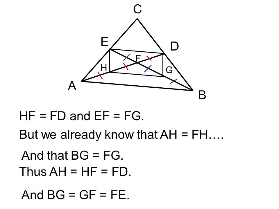 A B C E D F H G HF = FD and EF = FG. But we already know that AH = FH…. And that BG = FG. Thus AH = HF = FD. And BG = GF = FE.