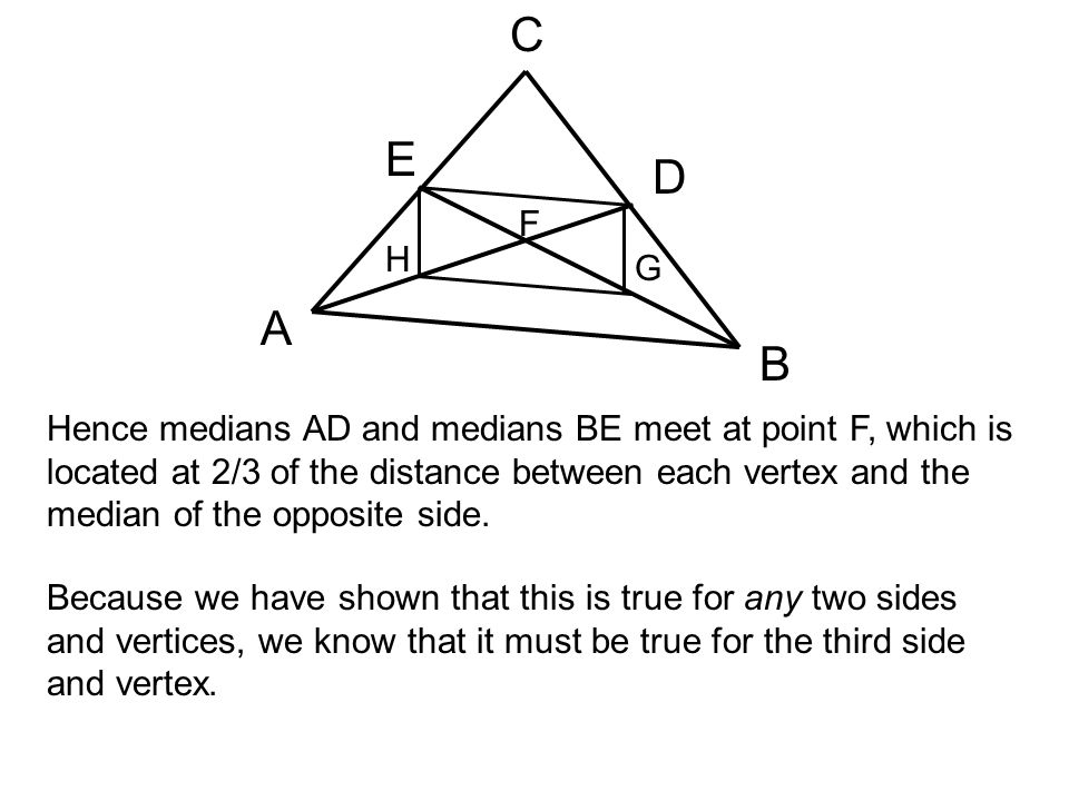 A B C E D F H G Hence medians AD and medians BE meet at point F, which is located at 2/3 of the distance between each vertex and the median of the opp