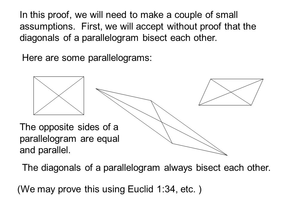 In this proof, we will need to make a couple of small assumptions. First, we will accept without proof that the diagonals of a parallelogram bisect ea