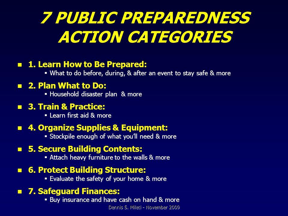 7 PUBLIC PREPAREDNESS ACTION CATEGORIES 1.