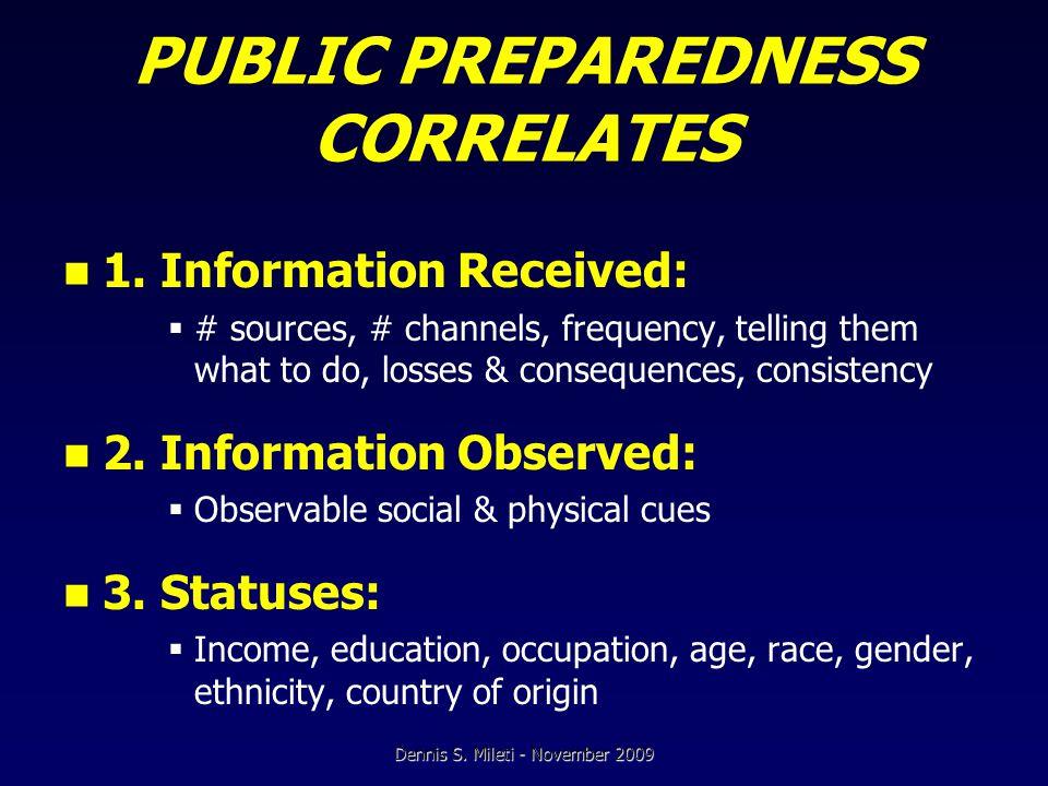 PUBLIC PREPAREDNESS CORRELATES 1.