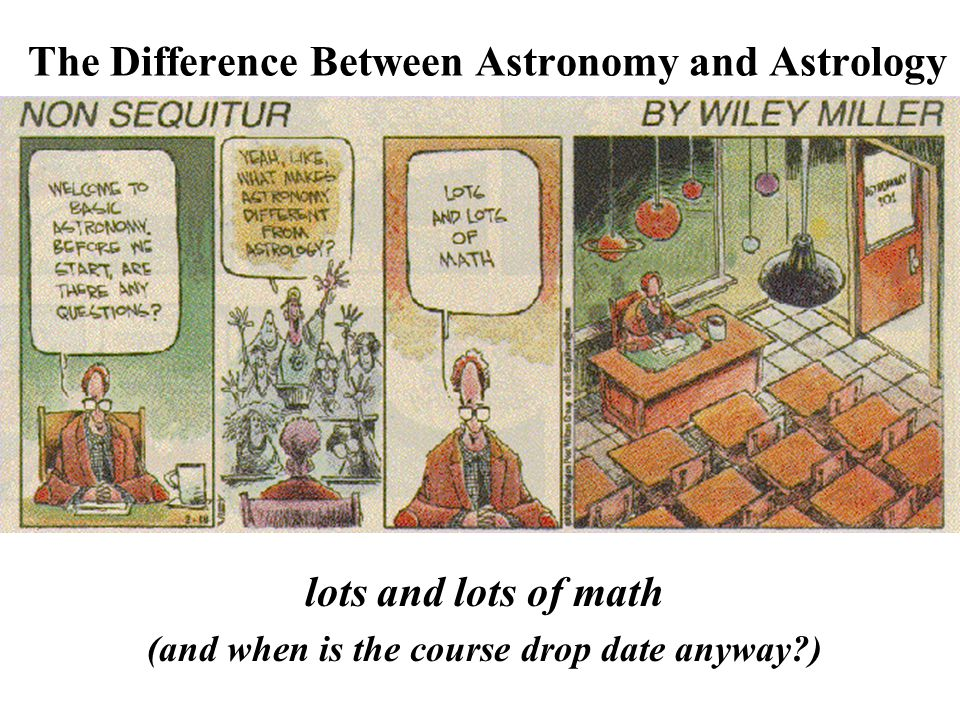 The Difference Between Astronomy and Astrology lots and lots of math (and when is the course drop date anyway )