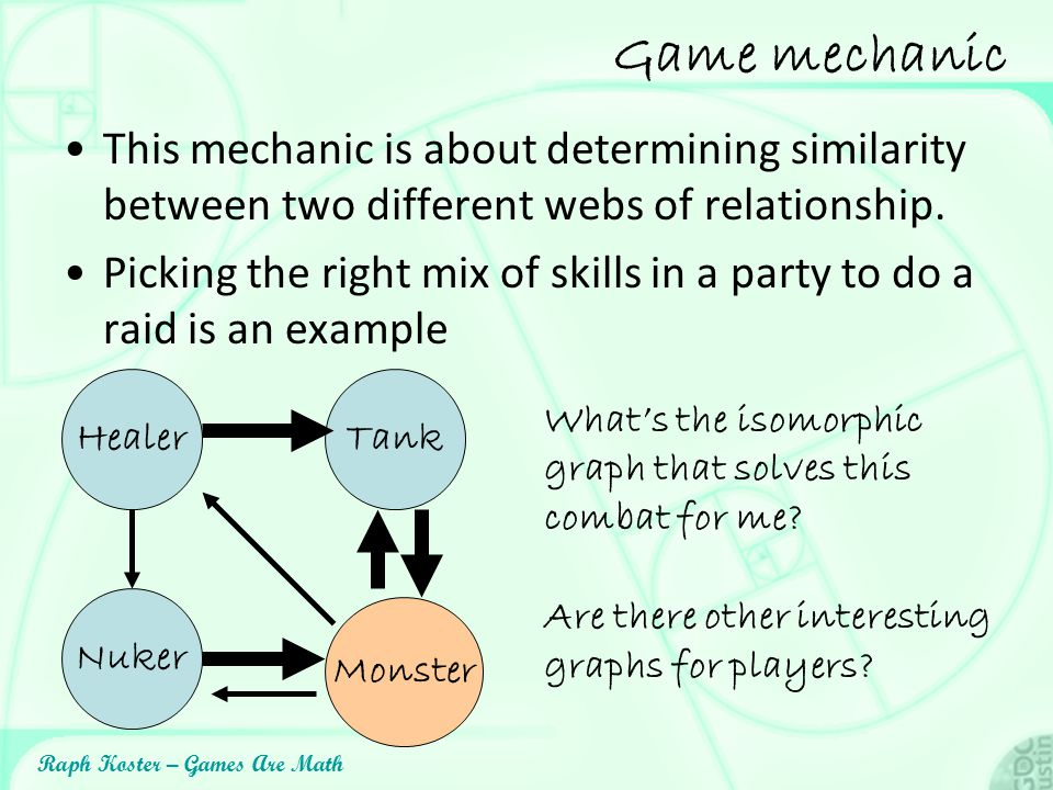 Raph Koster – Games Are Math Game mechanic This mechanic is about determining similarity between two different webs of relationship. Picking the right