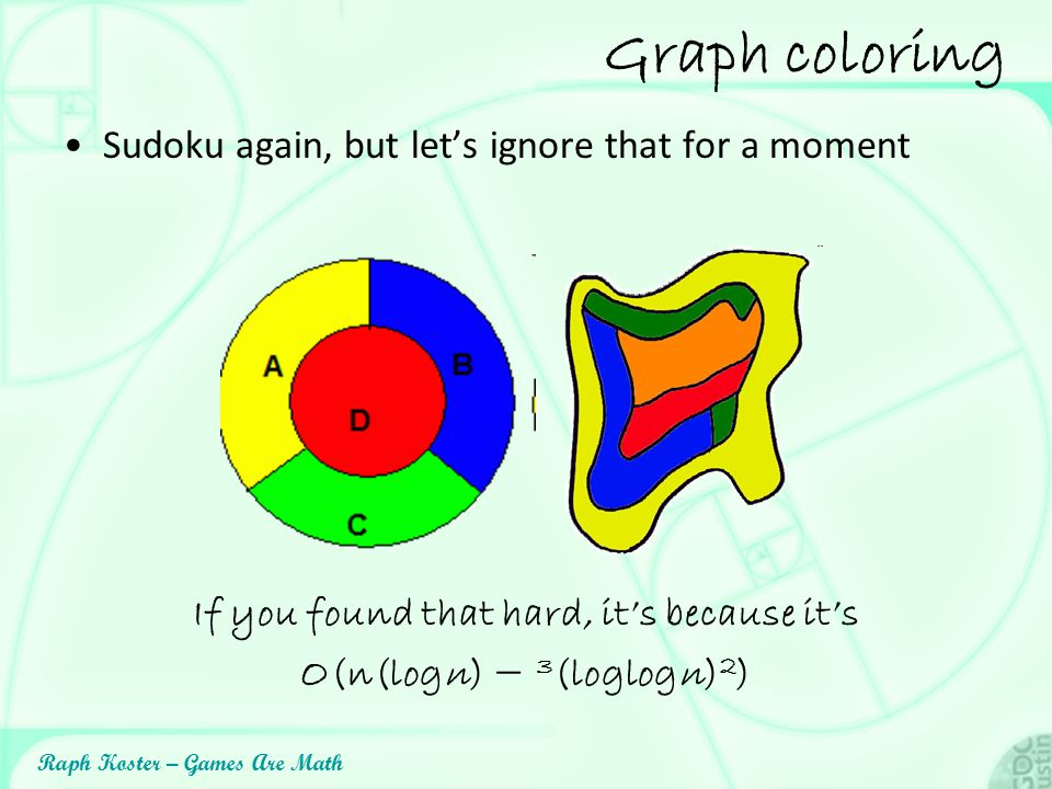 Raph Koster – Games Are Math Graph coloring Sudoku again, but let's ignore that for a moment If you found that hard, it's because it's O(n(logn) − 3 (