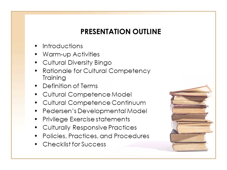 PRESENTATION OUTLINE Introductions Warm-up Activities Cultural Diversity Bingo Rationale for Cultural Competency Training Definition of Terms Cultural