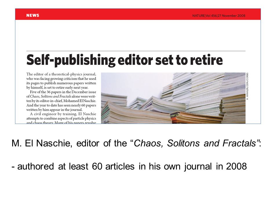 16 journals with editors publishing ≥5 articles in their own journals: 4 from Biomedicine 6 from Natural Sciences /Engineering 5 from Social Sciences 2 from Humanities 3 editors published more than 10 articles: 2 from Natural Sciences/Engineering (13 and 14 articles) 1 from Biomedicine (15 articles) Results