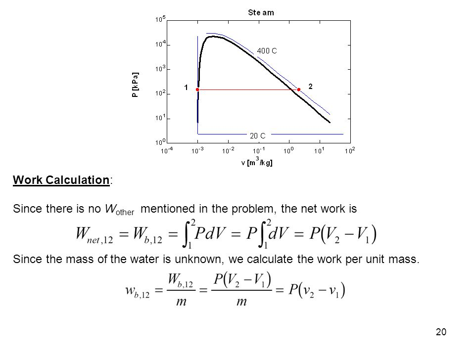 20 Work Calculation: Since there is no W other mentioned in the problem, the net work is Since the mass of the water is unknown, we calculate the work