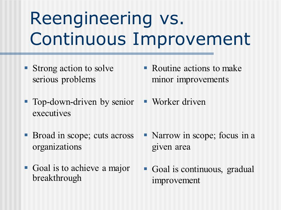 Reengineering vs.