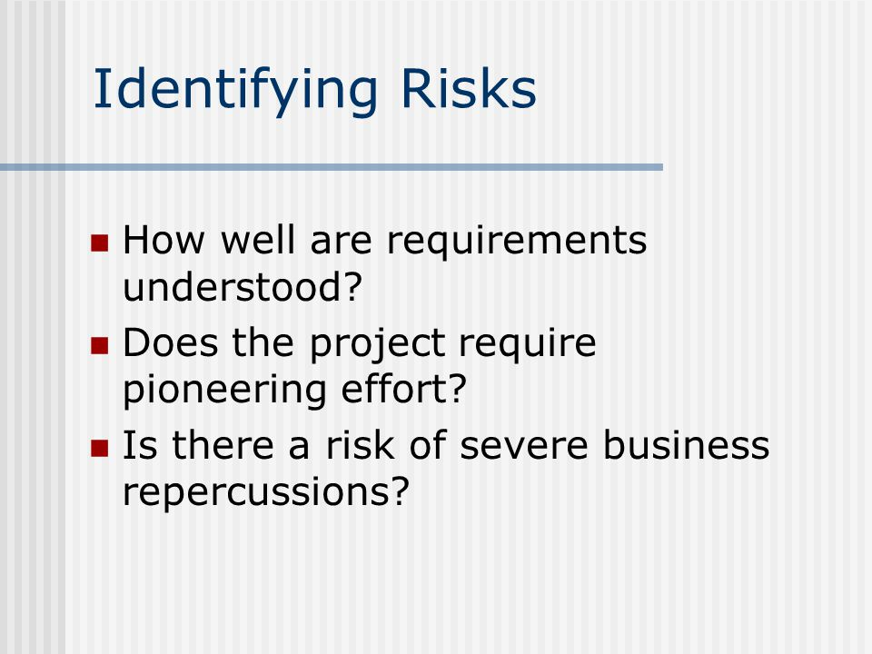 Identifying Risks How well are requirements understood.
