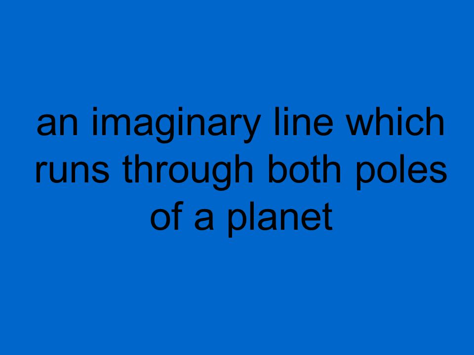 an imaginary line which runs through both poles of a planet